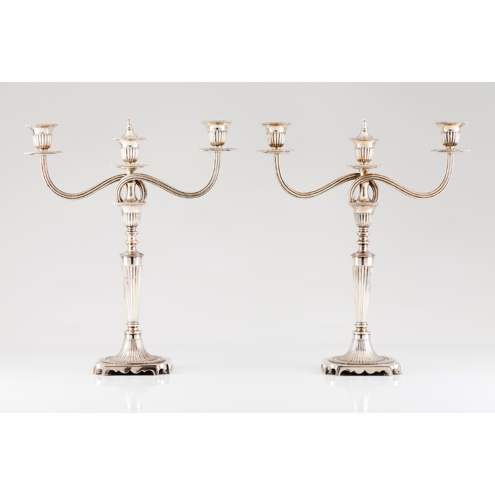 A pair of three branch neoclassical candelabraPortuguese silver Fluted decoration shafts Removable