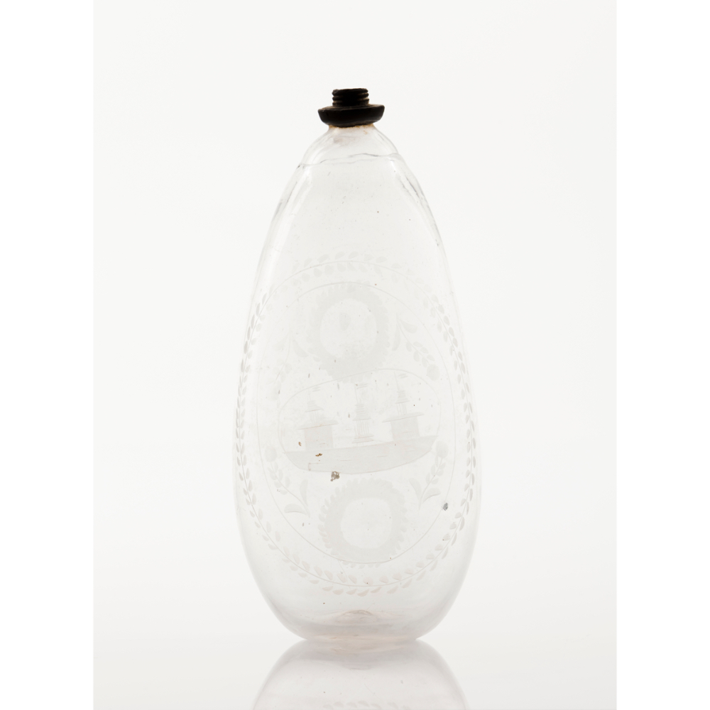 A bottle for vodkaGlass Acid etched decoration with boat and foliage motifs Europe, 18th
