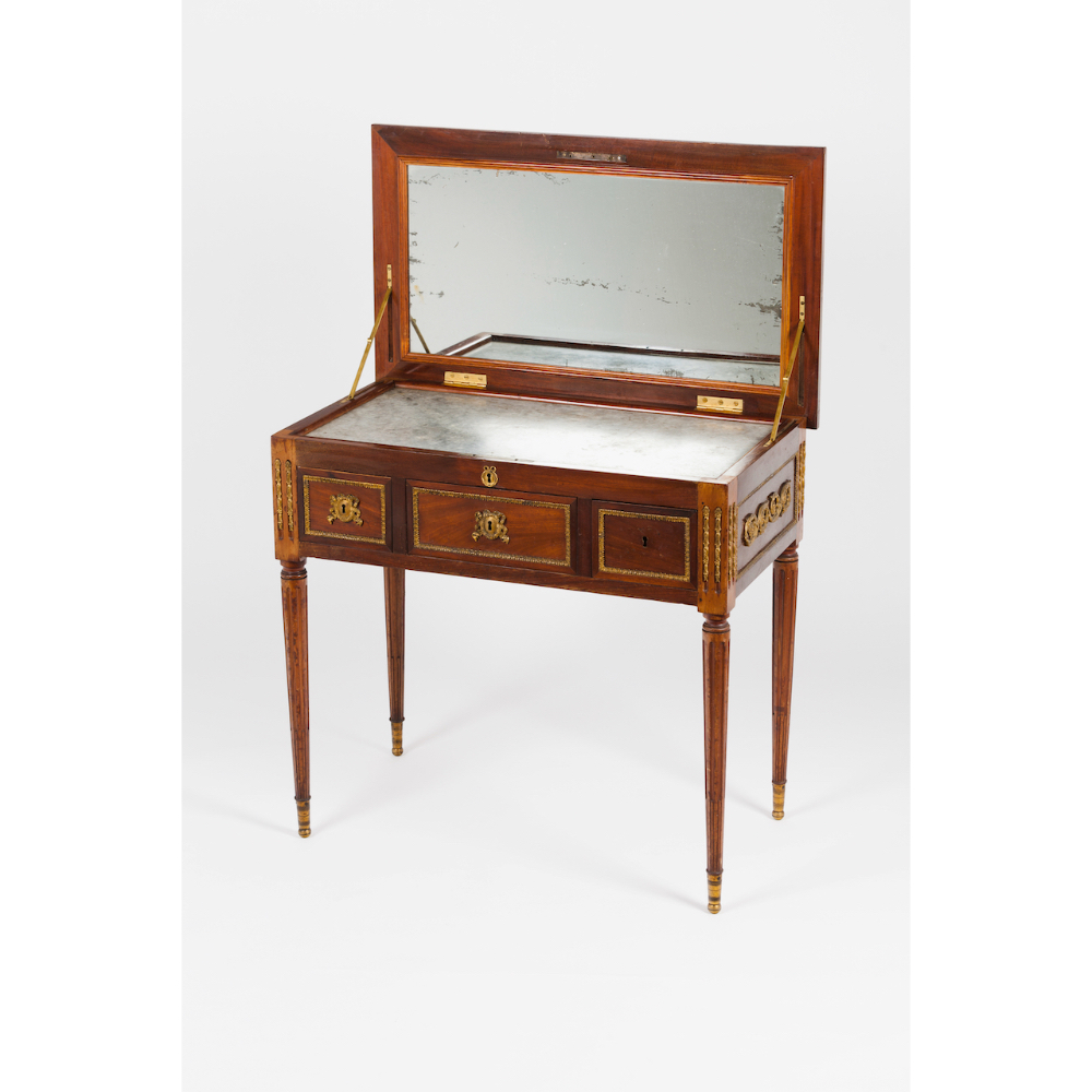 A Louis XVI style dressing tableIn cherry wood and other timbers Bronze hardware Inner marble top - Image 2 of 2