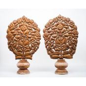 A pair of palm shaped elementsLeather on wood(?) Carved wooden stand India, 18th century (losses and