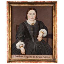 "Portuguese school, 19th century""Dona Carolina Augusta de Souza Gama"" Oil on canvas86x68 cm"