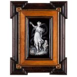 A pair of plaquesEnamel on copper depicting the goddesses Flora and Diana Wooden frames Limoges,