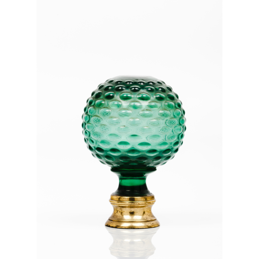 A staircase finialGreen cut glass Yellow metal fitting Possibly Baccarat or Saint Louis France, 19th