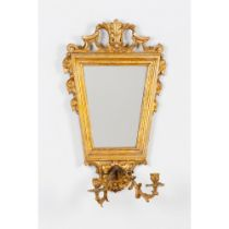 A pair of two branch wall sconcesCarved and gilt wood of foliage motifs decoration Gilt bronze