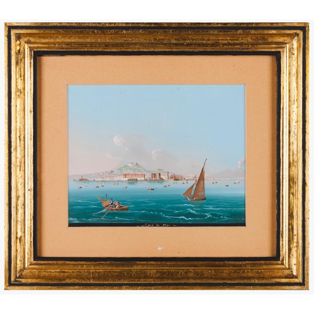 Neapolitan school, 19th centuryA view of the bay of Naples Gouache on paper18x23 cm