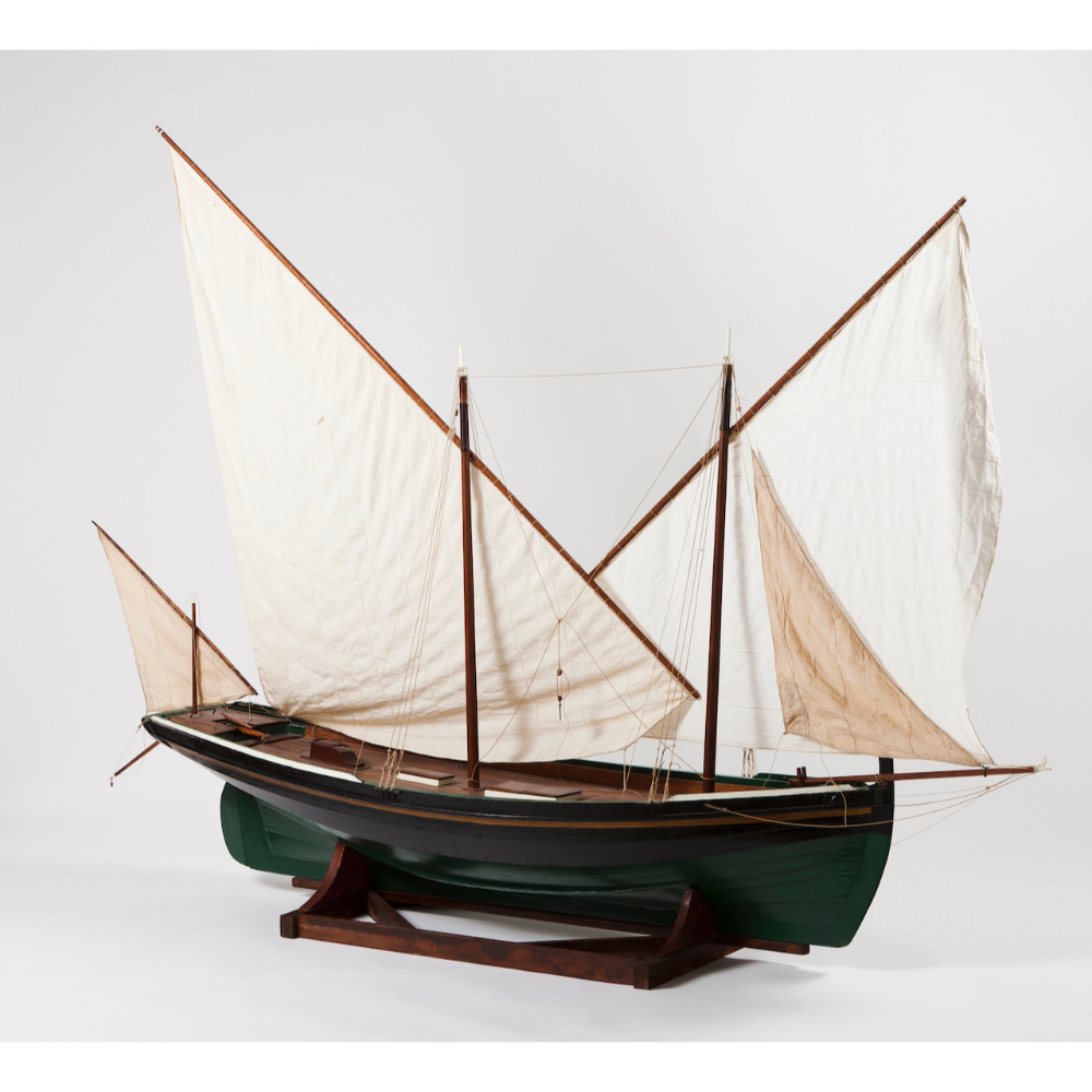 A model sailboatWood, metal and textile Wooden display stand 20th century160x226 cm