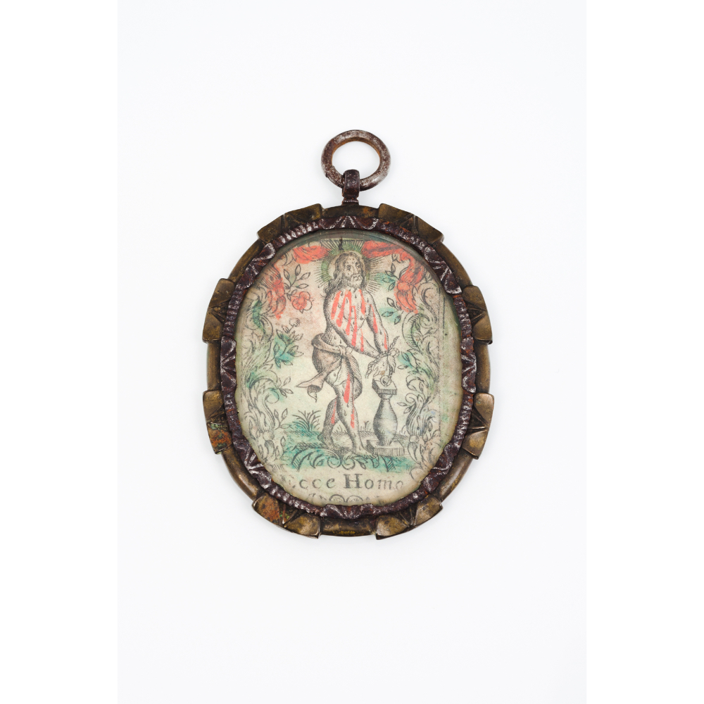 Spanish school, 17th centuryMiniature on copper depicting the Crowned Virgin Mary Coloured print - Image 2 of 2