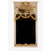 A large mirrorCarved, painted and gilt frame of floral and garlands decoration Painted cartouche