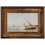 Portuguese school, 19th centuryThe Tagus river with the Tower of Belem and tall ships Oil on