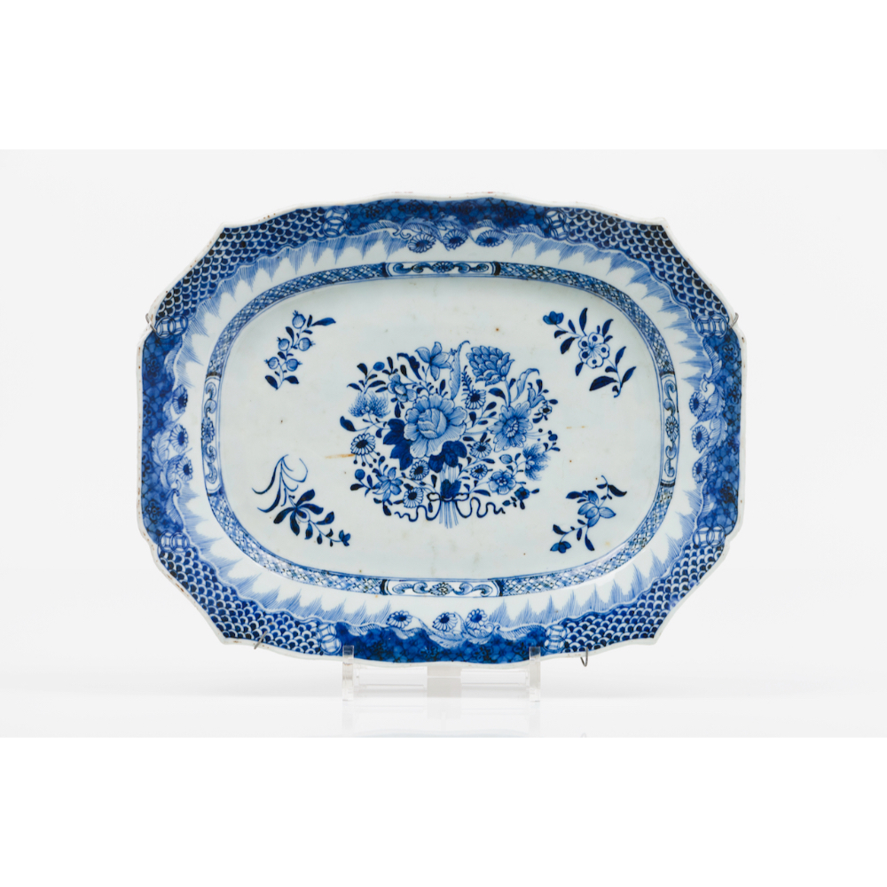 A pair of scalloped serving plattersChinese export porcelain Floral blue and white decoration - Image 2 of 2