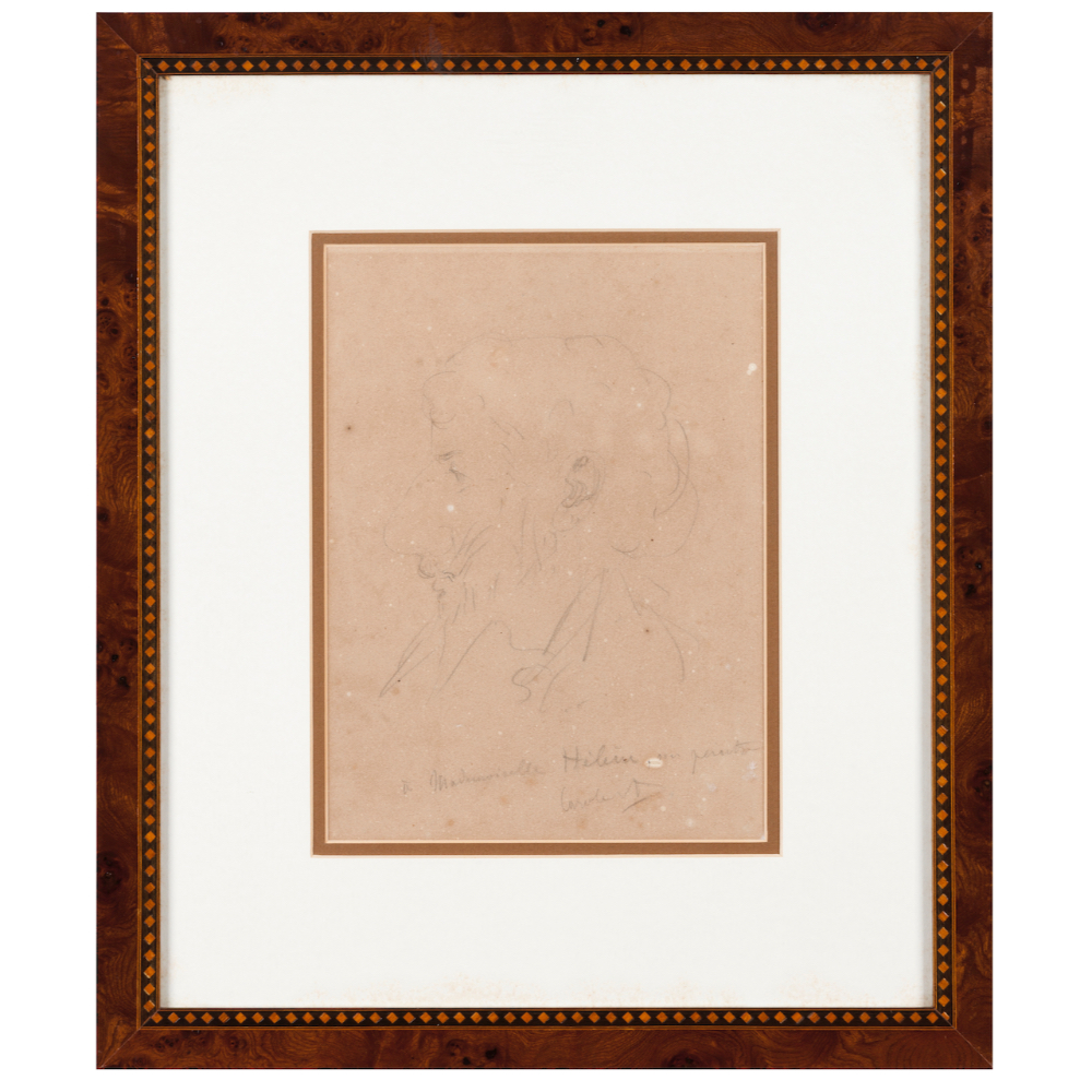 European school, 19th centuryProfile of an elderly man Chalk drawing on paper Dedicated and