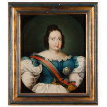 Portuguese school, 19th centuryPortrait of Queen Maria II Oil on canvas45x37,5 cm