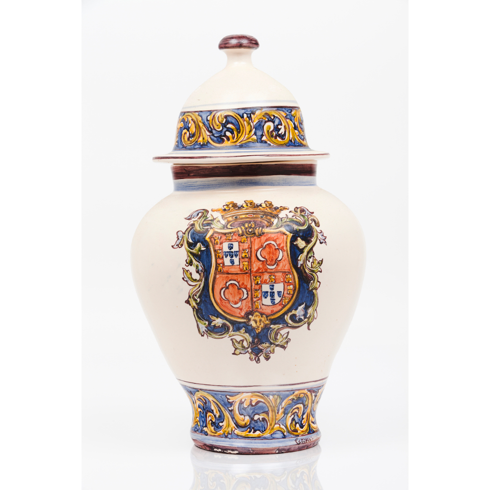 A pot with coverPainted ceramics Polychrome decoration with the Duke of Palmela heraldic shield