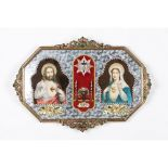 A votive printYellow metal frame with prints depicting the Sacred Heart of Jesus and the Sacred