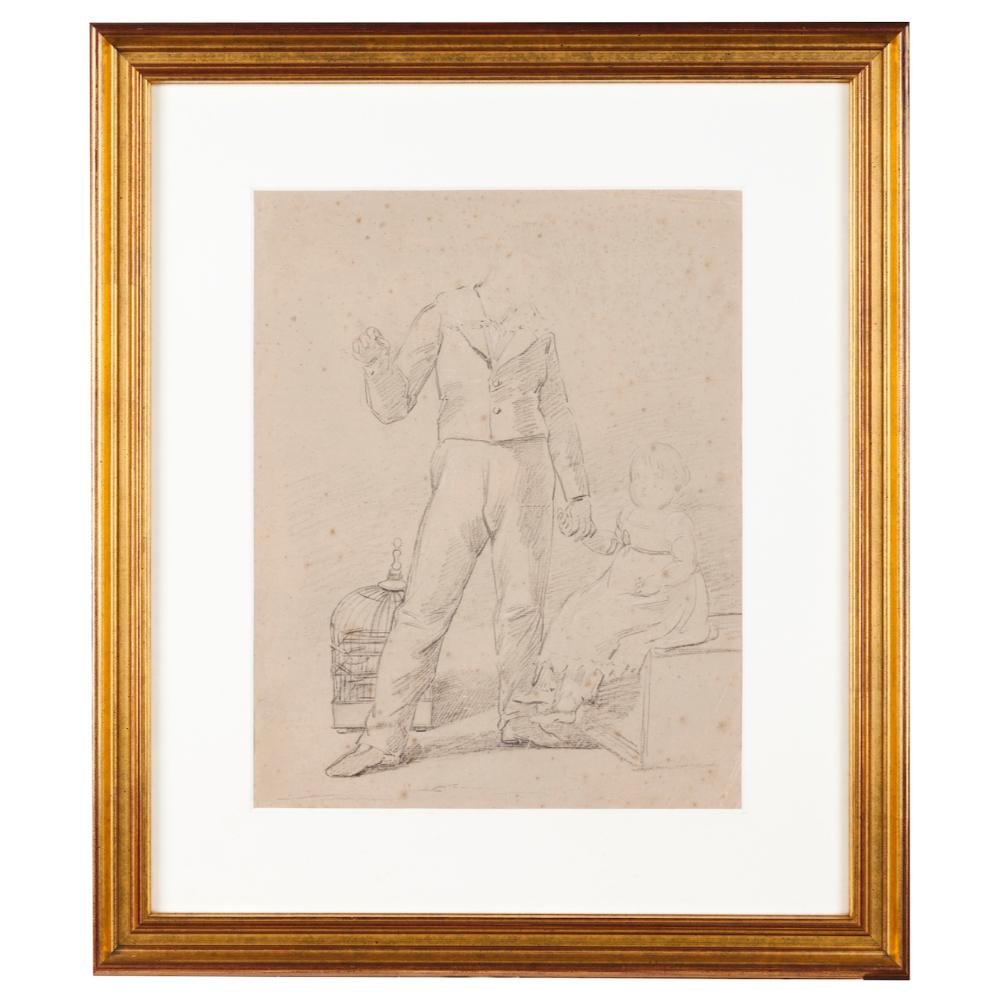 European school, early 19th centuryA study Charcoal drawing on paper37,5x30 cm