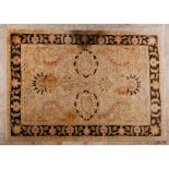 A Mazar rugIn Wool and cotton Floral design in shades of beige, burgundy and brown (staining)366x277