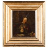 Dutch school, 17th centuryInterior of taverna with figure Oil on board Two paper labels to back