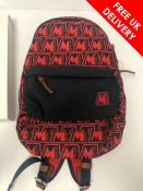 Moncler Pierrick All-over Logo Mens Backpack, Red