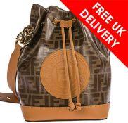 Fendi Mon Tresor Ladies Small Brown Fabric and Leather Bucket Bag