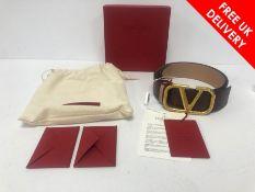 Valentino Reversible VLogo Signature Belt in Grainy Calfskin Rubin/Rose Canelle, Boxed as New