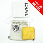 Loewe Square Anagram Leather Zip Wallet, Yellow/White, With Dust Bag