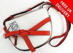 Loewe Gate Small Bag, White/Light Grey/Red