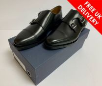 Suitsupply Leather Double Monk Strap Shoes in Black, UK 40