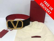Valentino Garavani VLOGO reversible leather belt, Black/Red