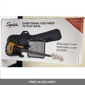 Squier Affinity PJ Bass Pack, Brown Sunburst with Fender Play