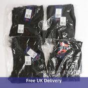 Four Asics Men's Sport Run Tights, Black, 2x Size M, 2x Size L, various designs