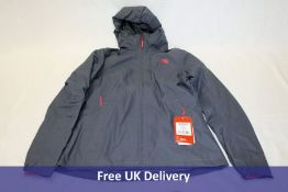 The North Face W Tanken Tri Jacket, Blue/Grey with Pink Logo, Small