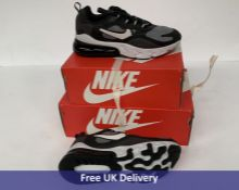 Two Pairs of Nike Child's Air Max 270 React GS Trainers, Grey & White, UK 3 and UK 4.5