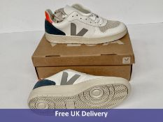 Veja Men's V-10 Leather Trainers, Extra White, Oxford Grey & Orange Fluor, UK 11