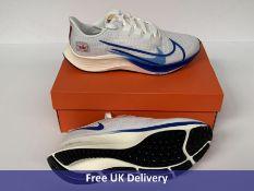 Nike Men's Air Zoom Pegasus 37 PRM Running Shoe, White, Game Royal, Gym Red Sail, Black, UK 8.5