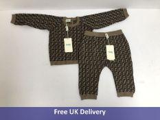 Fendi Kid's Monogrammed Jumper and Leggings Set, Beige, Size 12 Months