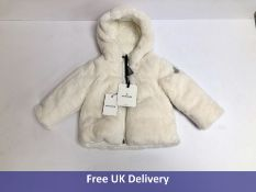 Moncler Baby Feather-Down Hooded Jacket, White, Size 12-18m