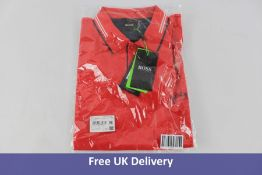 Hugo Boss Men's Paul Curved Polo Shirt, Red and White, Size L