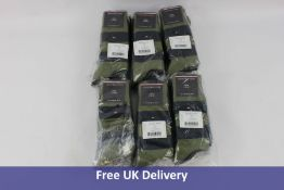 Six packs of 3 pairs of Tommy Hilfiger Men's Socks, Olive and Navy, UK 6-8