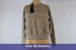 Pinko Women's Horizontal Cable Knit Jumper, Beige, Size S