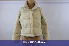 Abercrombie Sherpa Mini Puffer Coat, Off White , Size M
