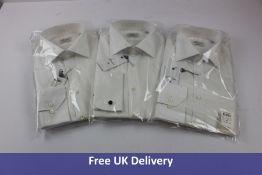 Three Stenstroms Men's Plain Classic Formal Shirt, White, Collar 16.5, Chest 42