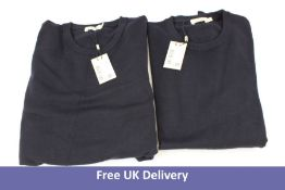 Two Suitsupply Men's Merino Crewneck Jumpers, Navy, Size L and Size M