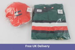Tommy Hilfiger Sweater, Rural Green, Youth 16 and 1x Big Flag Cap, Deep Crimson Red, Size M