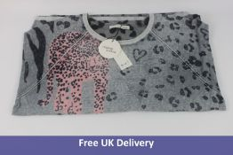 OUI Animal Print Top, Grey and Pink, Size L