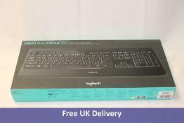Logitech K800 Illuminated Backlit Wireless Keyboard, Black, US Layout
