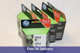 Five HP 304 Black plus 304 Tri Colour 2 Pack Ink Cartridges