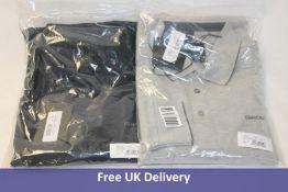 Two Geox Men's Polo Shirts, 1x Light Melange Grey and 1x Blue Nights, Medium