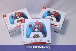 Three PowerA Nintendo Switch Enhanced Wired Controllers, Super Mario/Blue