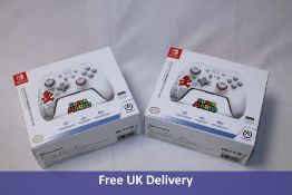 Two PowerA Nintendo Switch Enhanced Wireless Controllers, Super Mario/White