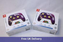 Two PowerA Nintendo Switch Enhanced Wireless Controllers, Super Mario/Waluigi